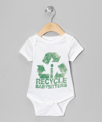 White 'Recycle Babysitters' Bodysuit