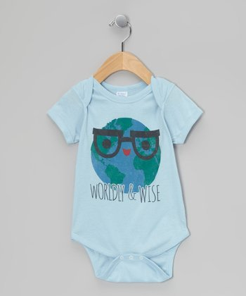 Light Blue 'Worldly & Wise' Bodysuit - Infant