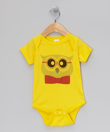 Yellow Owl Bow Tie Bodysuit - Infant