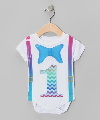 White Bow Tie '1' Bodysuit - Infant