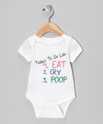 White 'Things to Do' Bodysuit - Infant