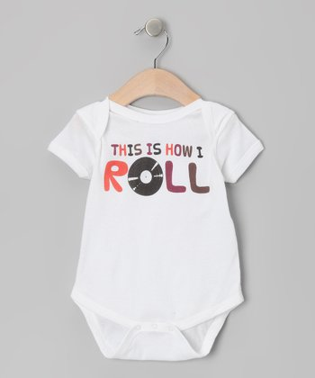 White How I Roll Record Bodysuit - Infant