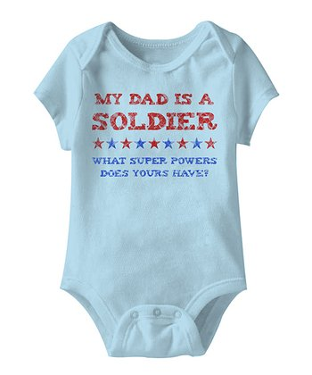 Light Blue 'My Dad is a Soldier' Bodysuit - Infant