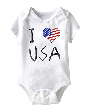 White 'I Love USA' Bodysuit - Infant