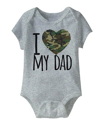 Heather Gray 'I Love My Dad' Camo Heart Bodysuit - Infant