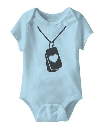 Light Blue Dog Tag Love Bodysuit - Infant