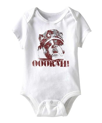 White 'Ooorah!' Dog Bodysuit - Infant