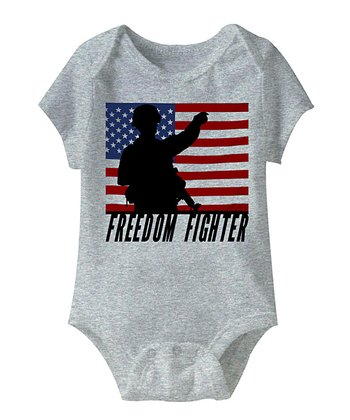 Heather Gray 'Freedom Fighter' Bodysuit - Infant