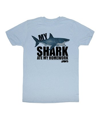 Light Blue 'My Shark Ate My Homework' Tee - Toddler & Kids