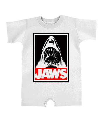 White & Black 'Jaws' Emerges Romper - Infant