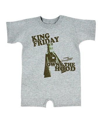 Heather Gray 'King Friday Owns the Hood' Romper - Infant