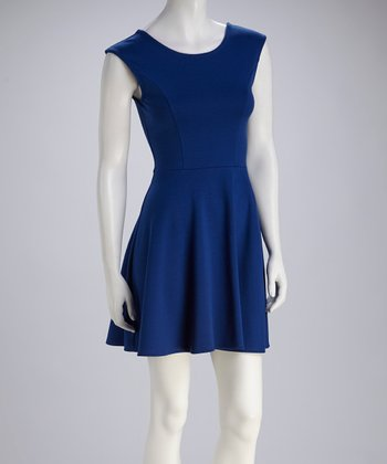 Royal Blue Cap-Sleeve Skater Dress