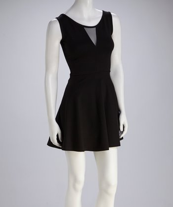 Black Mesh Cutout Skater Dress