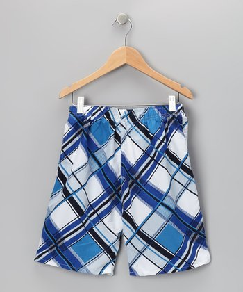 Blue Plaid Swim Trunks - Boys