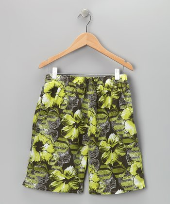 Green Hibiscus Swim Trunks - Boys