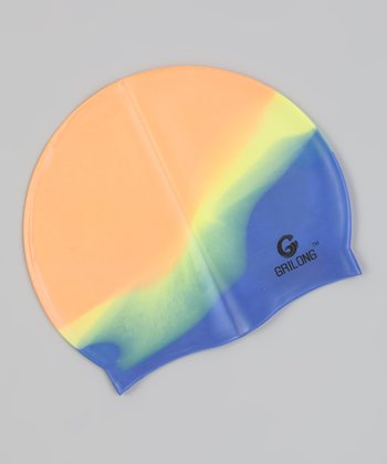 Dark Rainbow Tie-Dye Swim Cap