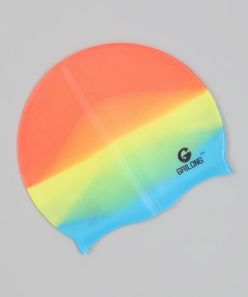 Light Rainbow Tie-Dye Swim Cap