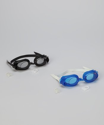 Black & Blue Swim Goggles Set