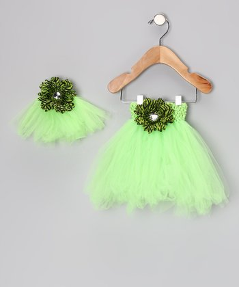 Green Flower Tutu & Doll Tutu - Infant, Toddler & Girls