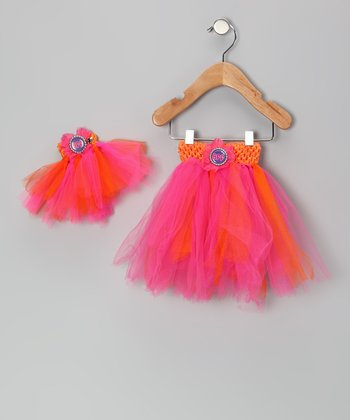Pink & Orange Tutu & Doll Tutu - Infant, Toddler & Girls