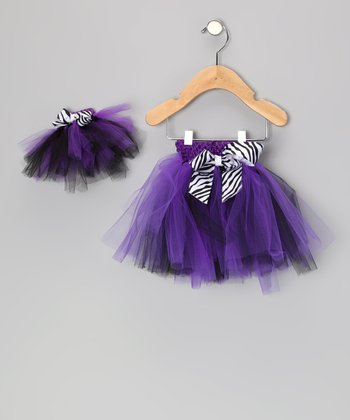 Purple & Black Zebra Tutu & Doll Tutu - Infant, Toddler & Girls