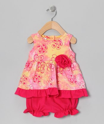 Pink & Yellow Swing Dress & Bloomers - Infant