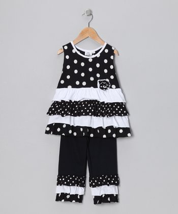 Black Polka Dot Tunic & Capri Leggings - Infant, Toddler & Girls