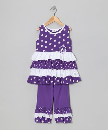 Purple Polka Dot Tunic & Capri Leggings - Infant, Toddler & Girls