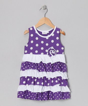 Purple Polka Dot Ruffle Dress - Infant, Toddler & Girls