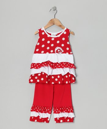 Red Polka Dot Tunic & Capri Leggings - Infant, Toddler & Girls