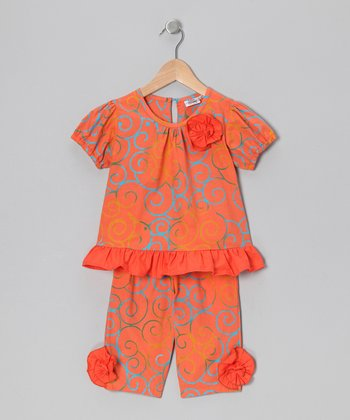 Coral Swirl Tunic & Capri Leggings - Infant, Toddler & Girls