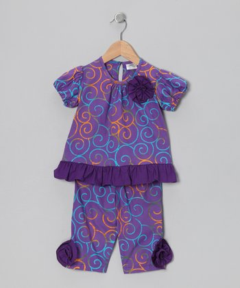 Purple Swirl Tunic & Capri Leggings - Toddler & Girls
