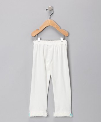 White & Light Blue Pants - Toddler & Girls