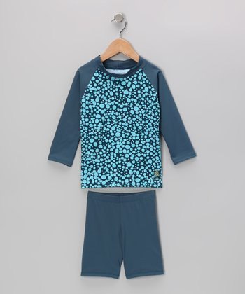 Teal Bubble Long-Sleeve Rashguard Set - Infant, Toddler & Kids