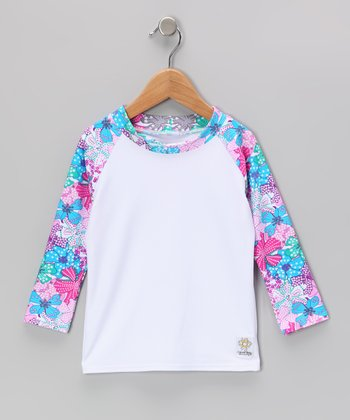 Berry & White Long-Sleeve Rashguard - Infant, Toddler & Kids