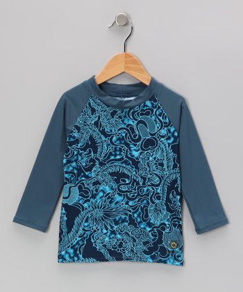 Teal Dragon Long-Sleeve Rashguard - Infant & Boys