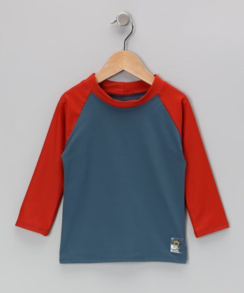 Orange & Teal Long-Sleeve Rashguard - Infant, Toddler & Kids