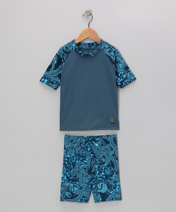 Teal Dragon Rashguard Set - Infant, Toddler & Boys