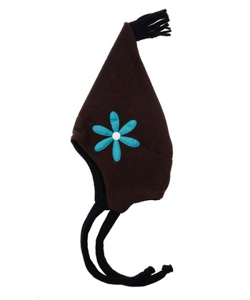 Brown Daisy Pointed Hatz Earflap Beanie