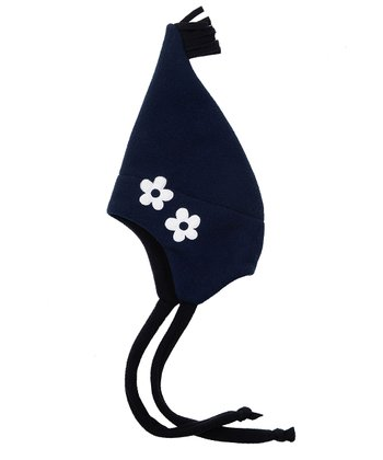 Navy Flower Pointed Hatz Earflap Beanie