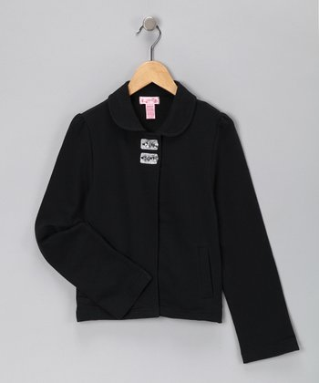 Black French Terry Jacket - Girls