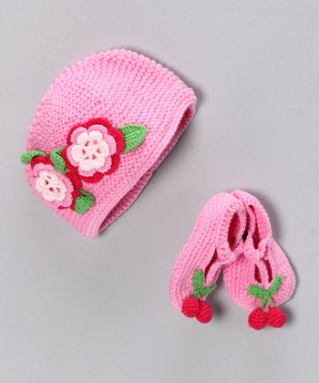 Pink Cherry Pie Organic Beanie & Booties
