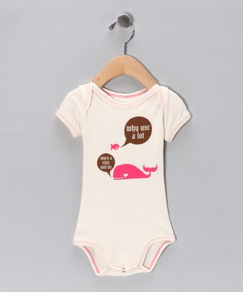 Natural & Pink Whale Organic Short-Sleeve Bodysuit