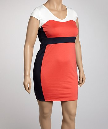 Coral Color Block Plus-Size Dress