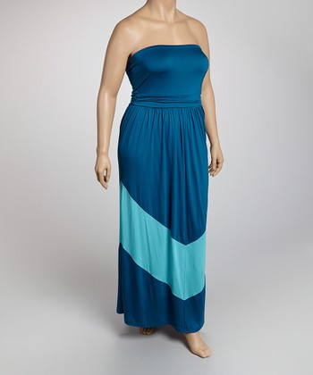 Teal Color Block Plus-Size Maxi Dress