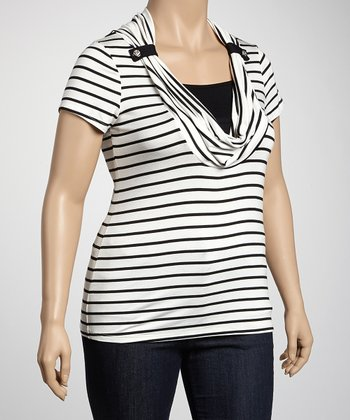 White Stripe Plus-Size Top