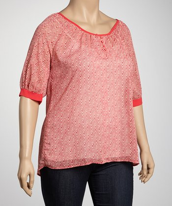 Coral Zigzag Plus-Size Scoop Neck Top