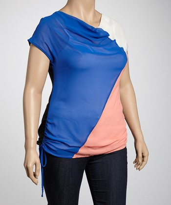 Black & Blue Color Block Side-Tie Plus-Size Top