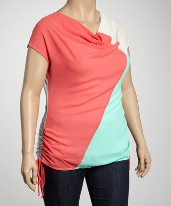 Heather Gray & Coral Color Block Side-Tie Plus-Size Top