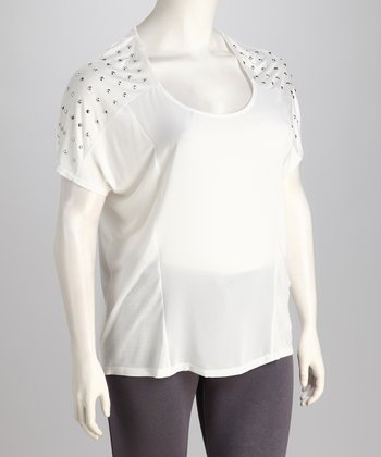 White Studded Plus-Size Top